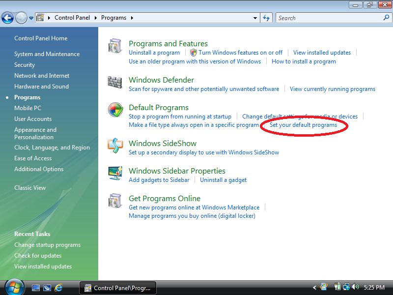 Click: Set your default programs (if Control Panel is set to Control Panel Home)