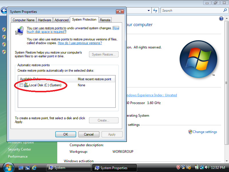Check: Local Disk (C:) (System)