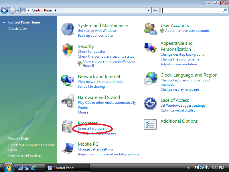 Click: Uninstall a program (if Control Panel is set to Control Panel Home)