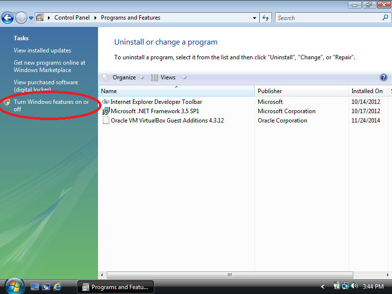 Click: Turn Windows features on or off