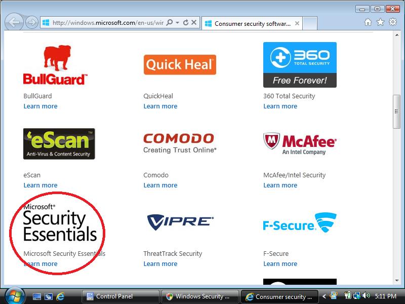Click: Microsoft Security Essentials
