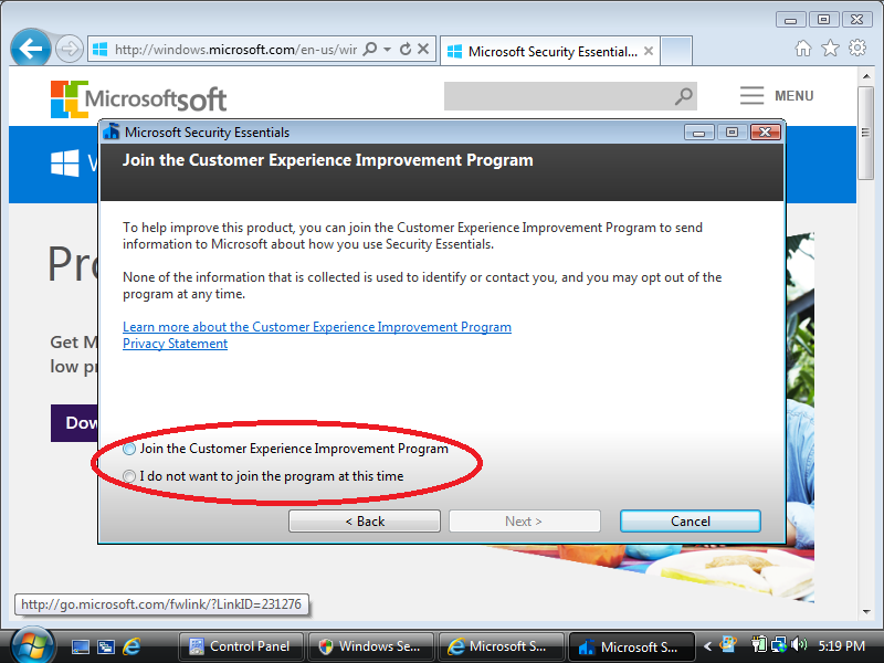 Select: Join the Customer Experience Improvement Program (optional)